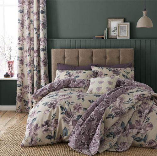 Catherine Lansfield Painted Floral Plum Bedding Set